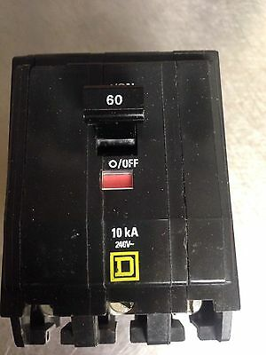 SQUARE D  QOB CIRCUIT BREAKER  60 AMP 3 POLE  240 VOLT QOB360 Clean.