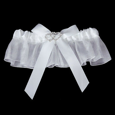 Nuptiale Double Coeur Strass mariage Jarretiere Satin Toss -Blanc WT