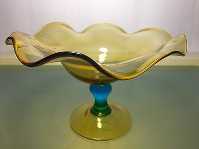 Antique Amber wavy Bowl with Blue Stem Compote New England Sandwich 1800's