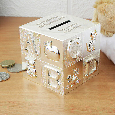 Personalised ABC Silver Cube Money Box Christening New Born Baby Boy Girl Gifts
