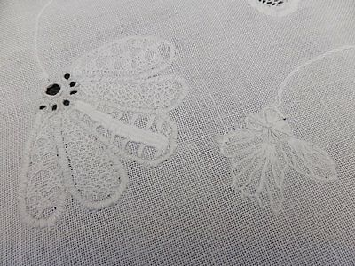 Antique Irish Linen Traycloth ~ Exceptional White on White Hand Embroidery