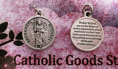 Saint St. Michael the Archangel  - Silver Tone Round - Medal with Prayer.