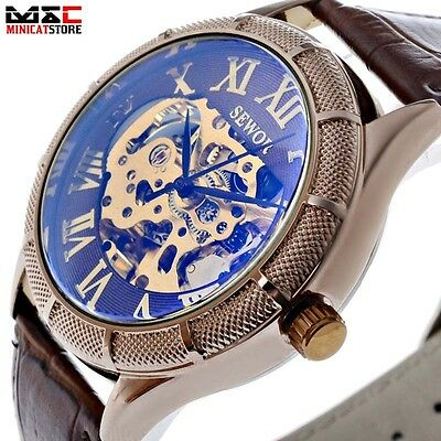 Classic Leather Band Skeleton Dial Analog Army Automatic Mechanical Wrist Watch