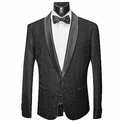 Black Shawl Lapel Floral Tuxedo Jacket Slim Fit