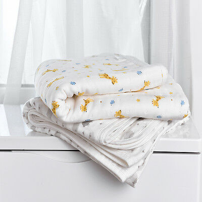 Beroyal 6 layers Muslin Cotton Wrap Baby Swaddle Kids Blanket 120*120cm  New