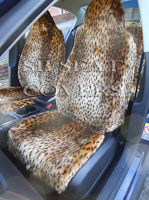 To Fit A Ford Puma Car, Seat Covers, Gold Cheetah Faux Fur Full Set