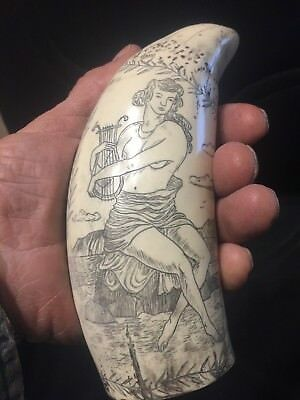"Sperm whale tooth scrimshaw replica ""SHIP MERCATOR"" fine details  historic"