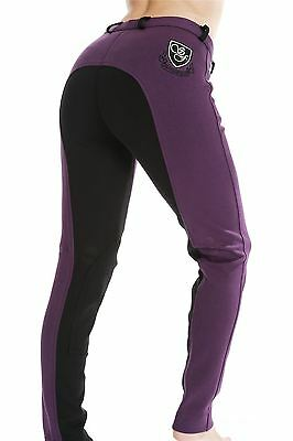 Girls Sherwood Forest Two Tone Purple Black Blue Riding Cotton Jodhpurs