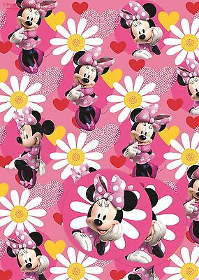 Minnie Mouse | Daisy Flowers | Hearts 2 Sheets of Giftwrap | Paper | 2 Gift Tags
