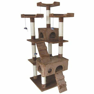New 185 cm BROWN Cat Gym Scratcher Tree Post House Pole Toy Kitty Mansion Club