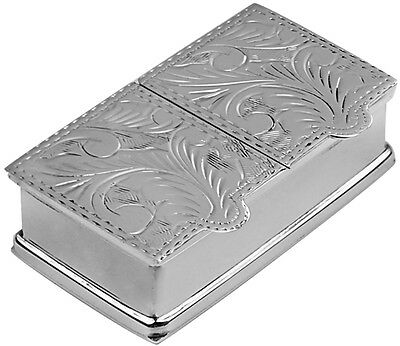 Two Compartment Engraved Rectangular Pillbox Silver Hallmarked From Ari D Norman