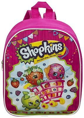 Shopkins Junior Girls Kids School Nursery Pink Travel Backpack Rucksack Bag