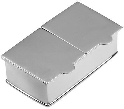 Two Compartment Plain Rectangular Pillbox Silver Hallmarked From Ari D Norman