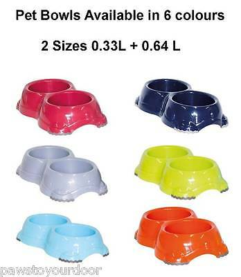 Non Slip Cat Dog Double Bowl Bowls Dish Feed Water Feeding Kitten Pet 6xColours
