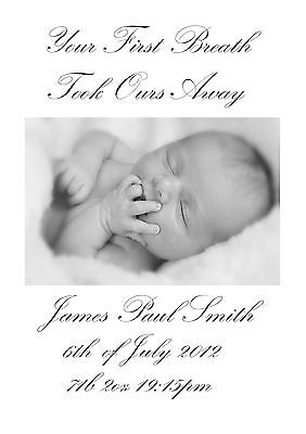 Personalised Baby Print Own Photo & Birth Date, Gift  To Frame A4 Or  A3 Canvas