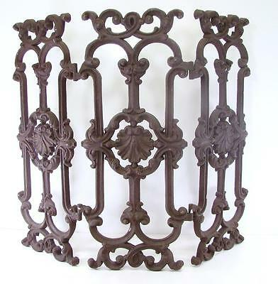 Vintage Antique Cast Iron Fireplace Folding Screen Protector Guard Panel • CAD $573.30