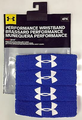 "Under Armour 1"" Performance Wristbands-Sweatband, 1235106 (4 Per Package!) NEW!"