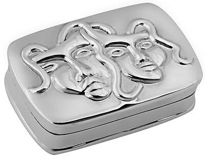Comedy And Tragedy Pillbox 925 Sterling Silver Hallmarked New From Ari D Norman