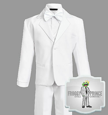 Formal Boys Kids White TUXEDO with BOW Tie Complete Set Size Small - 20
