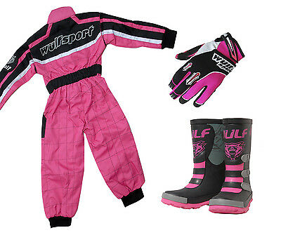 Childrens Wulfsport MX Motocross Quad Kids Overall Gloves Wellie Boot Pink #W1