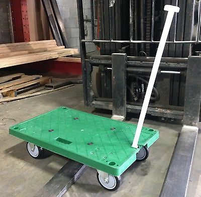 Heavy duty portable plastic platform cart  dolly   wagon with retractable handle