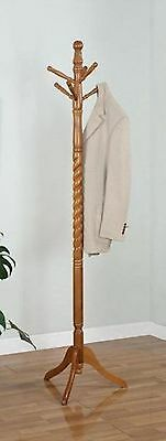 6 Hook Twist Hall Tree Solid Wood Coat Hat Rack, Cherry, Oak, White, Esp Colors