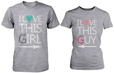 9c022ee7c2 Cute Matching Couple Shirts - I Love This Guy / Girl Grey Cotton Graphic  Tees