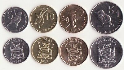ZAMBIA / 5, 10, 50 Ngwee, 1 Kwacha 2012 UNC, Set of 4 Coins