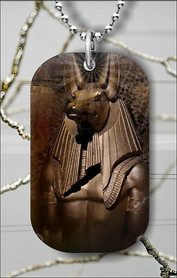 EGYPT GOD ANTIQUE EGYPTIAN ANUBIS DOG TAG NECKLACE PENDANT FREE CHAIN -h59k