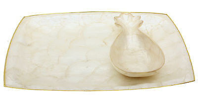 Capiz Shell Serving Tray w/ Pineapple Bowl Genuine Philippines MINT Beach Decor