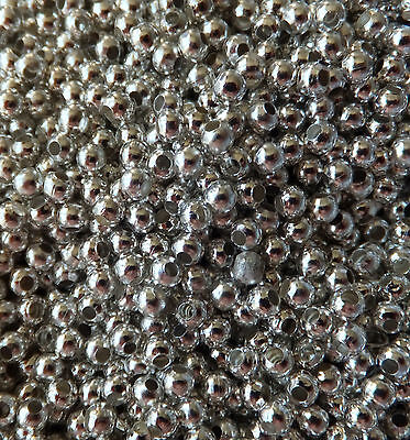 200 X 3mm SILVER PLATED ROUND SPACER BEADS IRON FINDINGS