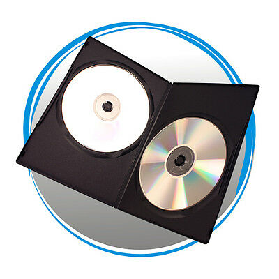 100 7mm Slim Double Black DVD Cases  D7DDBLK