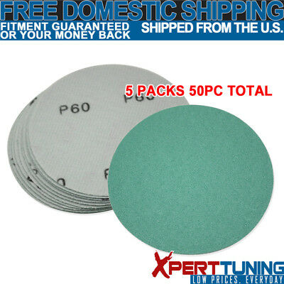 x50 Pcs Wet Dry Green Sanding Paper Bodykit Repair Sand Disc 60 Grit 5 Inch PSA