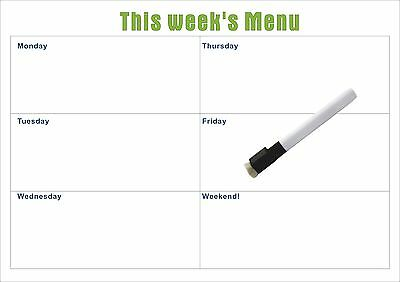 Weekly A3 Weekly Menu Magnetic planner with Free Whiteboard Marker (Aust Made)