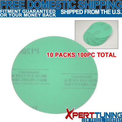 x100 Pcs Wet Dry Green Collision Repair Sanding Paper Sand Disc 1200 Grit 5 Inch