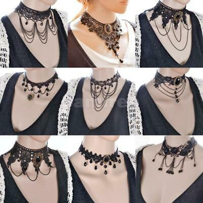 Gothic Black Steampunk Lace Victorian Chain Tassel Choker Necklace Pendant
