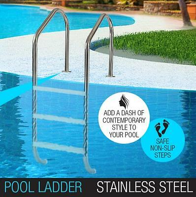Swimming Pool Ladder 3 Plastic Wide Non-Slip Steps Stainless Steel In-Ground