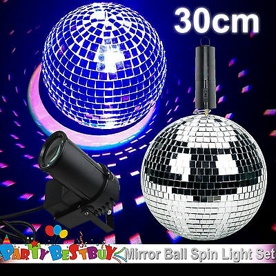 30cm Disco Mirror Ball Light Spin Motor Set 3 Colour Spot Stage Lights Party Dec