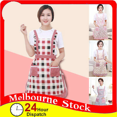 Flowers Apron Washable Front Pocket Butcher Waiter Chef Kitchen Cooking Rose