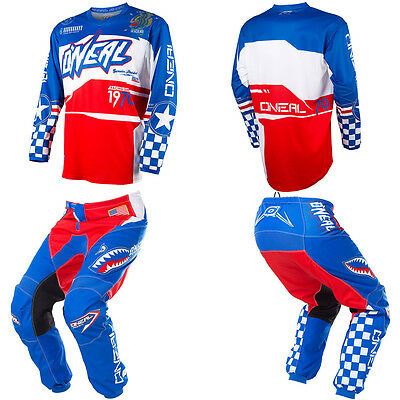 ONeal Element Afterburner Red/Blue Motocross MX Dirtbike Gear Jersey Pants Combo