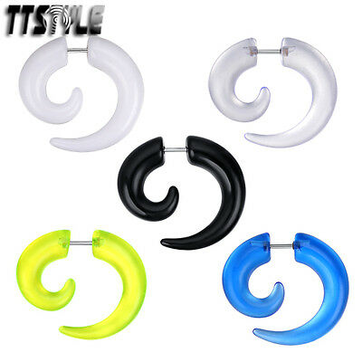 TTstyle UV Acrylic Spiral Fake Cheater Ear Taper Choose Size Colour A Pair NEW