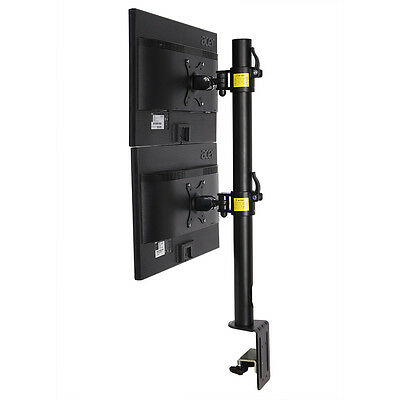 Dual Computer Monitor Desk Mount Stand Vertical Arrary for 2 Screens up to 30""