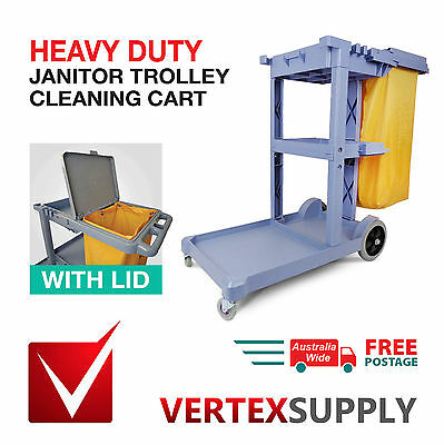JANITOR TROLLEY CLEANING CART with LID & BAG Cleaners Heavy Duty