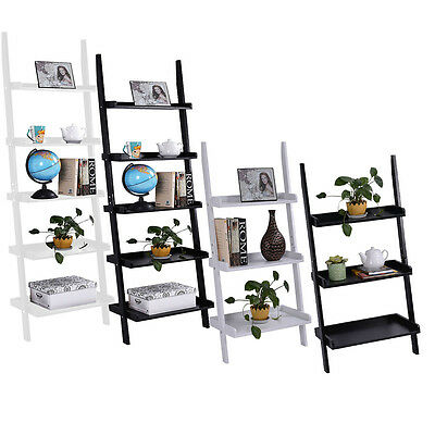 3&5 Tier Wooden Wall Rack Leaning Ladder Shelf Unit Bookcase Display UK Stock
