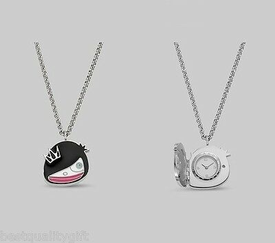 Miss Marc Jacobs Cartoon Black Tone+Silver Locket Chain Watch Necklace Mbm7037