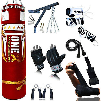 1X Axx 15 Piece Boxing Set 5ft Filled Heavy Punch Bag Gloves,Chains,Bracket,Kick