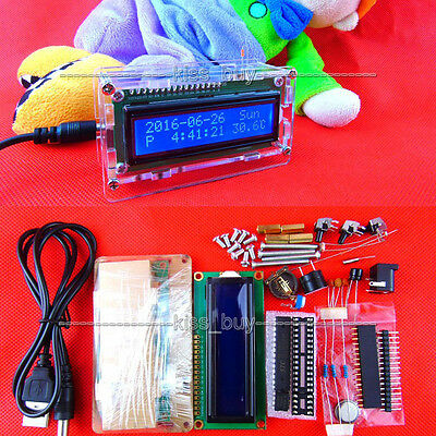 LCD electronic clock microcontroller digital watch time Alarm clock thermometer