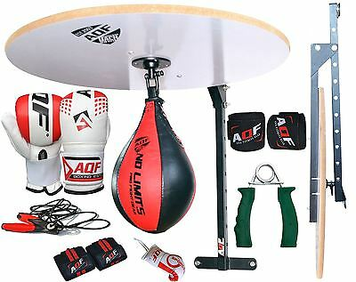 AQF 12 PC Speed Ball Platform Set Boxing Gloves Swivel Stand Bracket Speedball