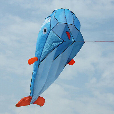3D Kites Huge Parafoil Giant Dolphin Blue Power Kite Outdoor Sports Easy to Fly