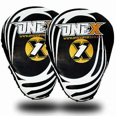 RED Focus Pads Curved Hook & Jab Mitts Kick Boxing MMA Strike Punch Bag